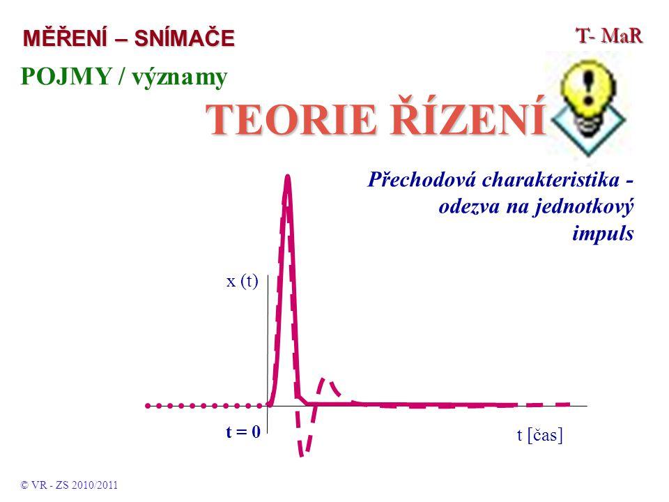 T- MaR MĚŘENÍ – SNÍMAČE POJMY / významy TEORIE ŘÍZENÍ © VR - ZS 2010/2011 Přechodová charakteristika - odezva na jednotkový impuls t [čas] t = 0 x (t)