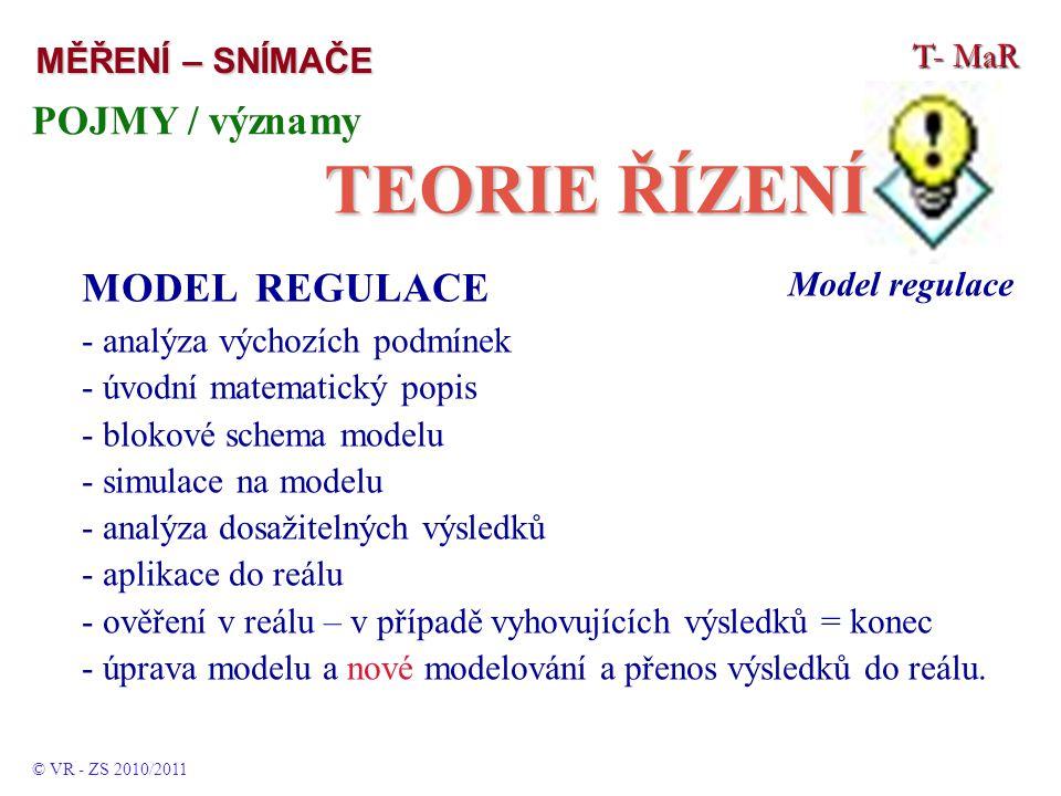 T- MaR MĚŘENÍ – SNÍMAČE POJMY / významy TEORIE ŘÍZENÍ © VR - ZS 2010/2011 Model regulace.