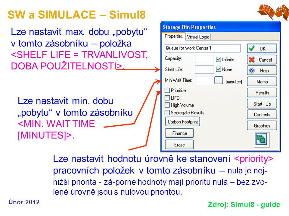 """SW a SIMULACE – Simul8 Únor 2012 Zdroj: Simul8 - guide Lze nastavit min. dobu """"pobytu"""" v tomto zásobníku. Lze nastavit max. dobu """"pobytu"""" v tomto záso"""