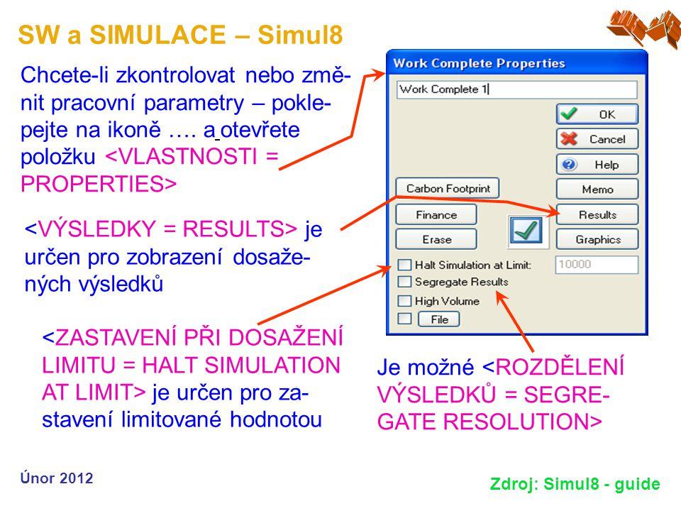 SW a SIMULACE – Simul8 Únor 2012 Zdroj: Simul8 - guide Chcete-li zkontrolovat nebo změ- nit pracovní parametry – pokle- pejte na ikoně …. a otevřete p