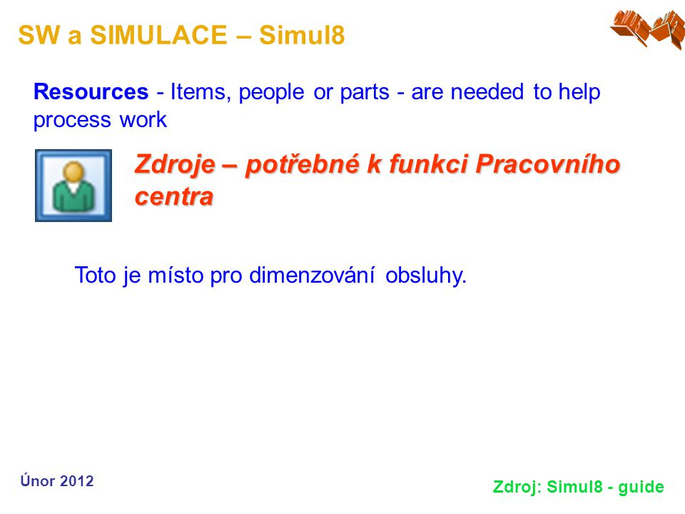 SW a SIMULACE – Simul8 Resources - Items, people or parts - are needed to help process work Únor 2012 Zdroj: Simul8 - guide Zdroje – potřebné k funkci