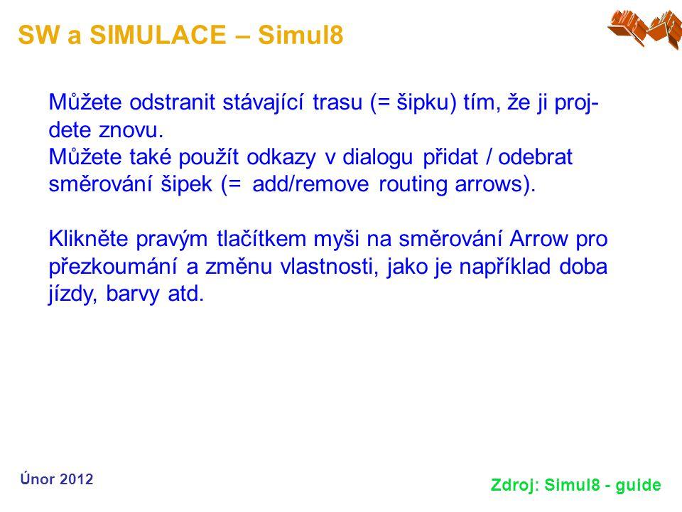 SW a SIMULACE – Simul8 Únor 2012 Zdroj: Simul8 - guide Můžete odstranit stávající trasu (= šipku) tím, že ji proj- dete znovu. Můžete také použít odka