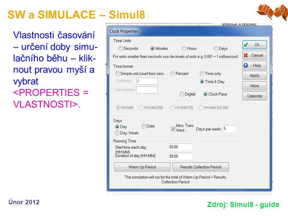 SW a SIMULACE – Simul8 Únor 2012 Zdroj: Simul8 - guide Vlastnosti časování – určení doby simu- lačního běhu – klik- nout pravou myší a vybrat.
