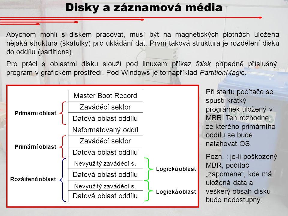 Disky a záznamová média Možností, jakým způsobem ukládat soubory do datových oblastí je mnoho.