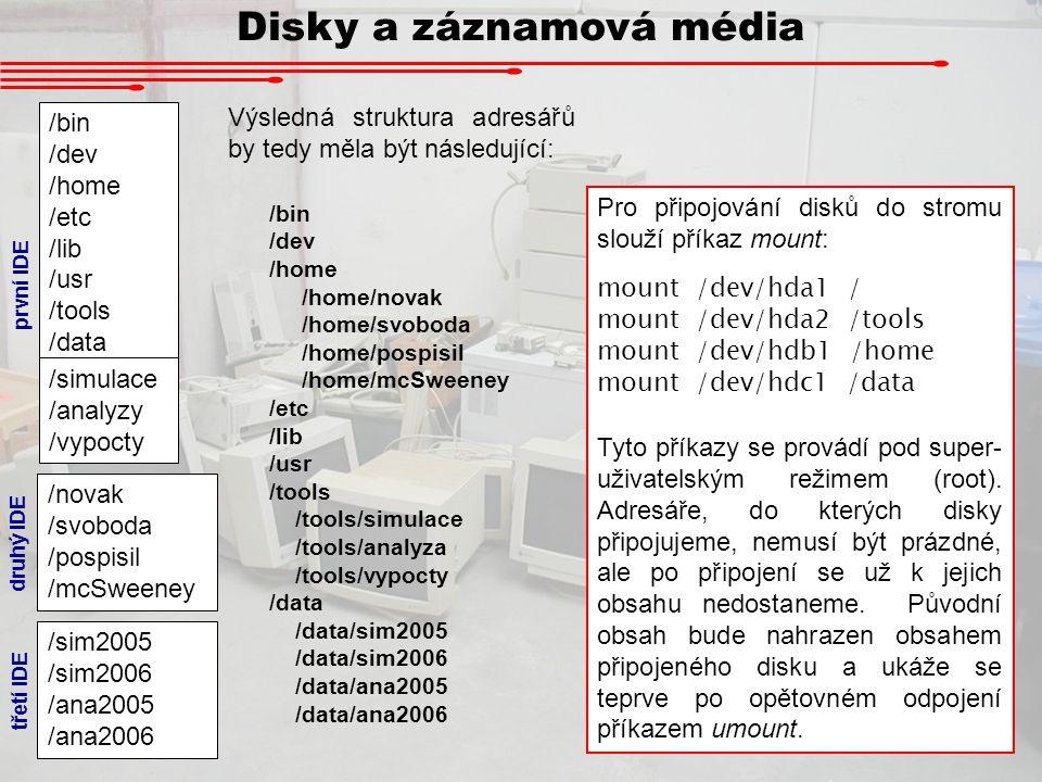 Disky a záznamová média /bin /dev /home /etc /lib /usr /tools /data /simulace /analyzy /vypocty /novak /svoboda /pospisil /mcSweeney /sim2005 /sim2006