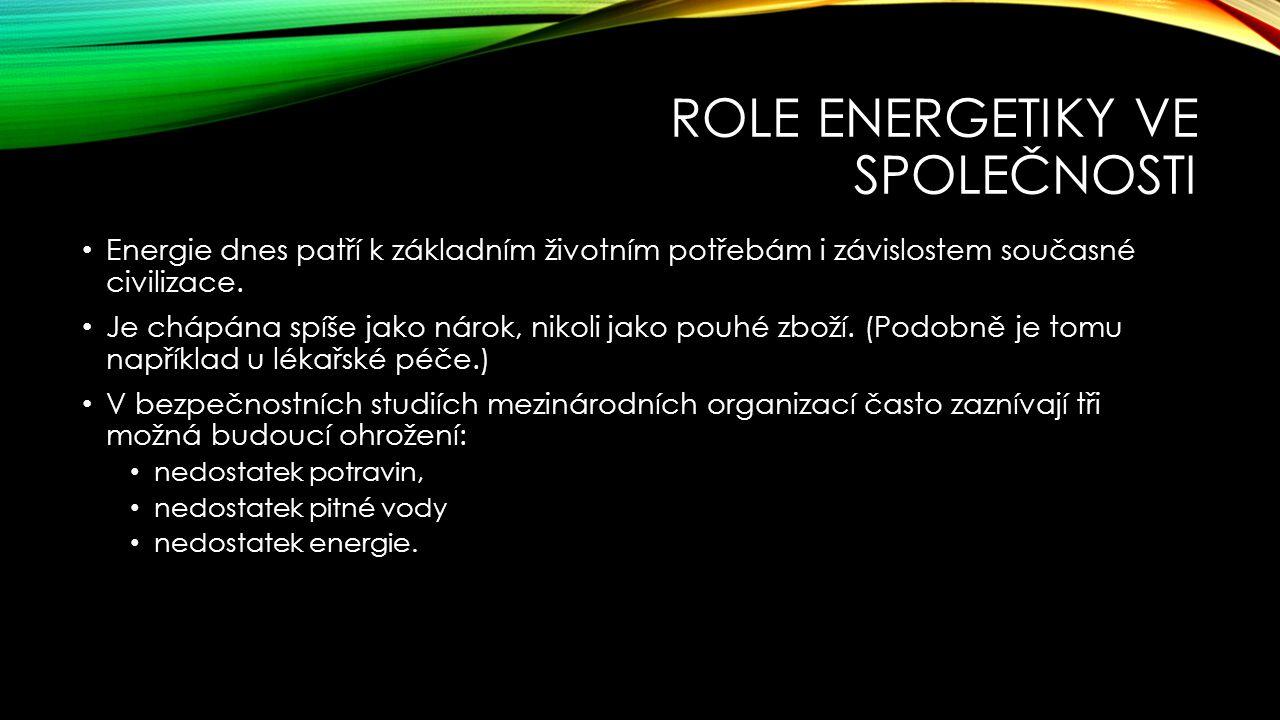 ROLE ENERGETIKY VE SPOLEČNOSTI Energie dnes patří k základním životním potřebám i závislostem současné civilizace.