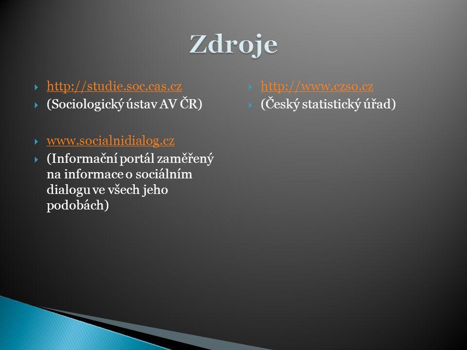  http://studie.soc.cas.cz http://studie.soc.cas.cz  (Sociologický ústav AV ČR)  www.socialnidialog.cz www.socialnidialog.cz  (Informační portál za