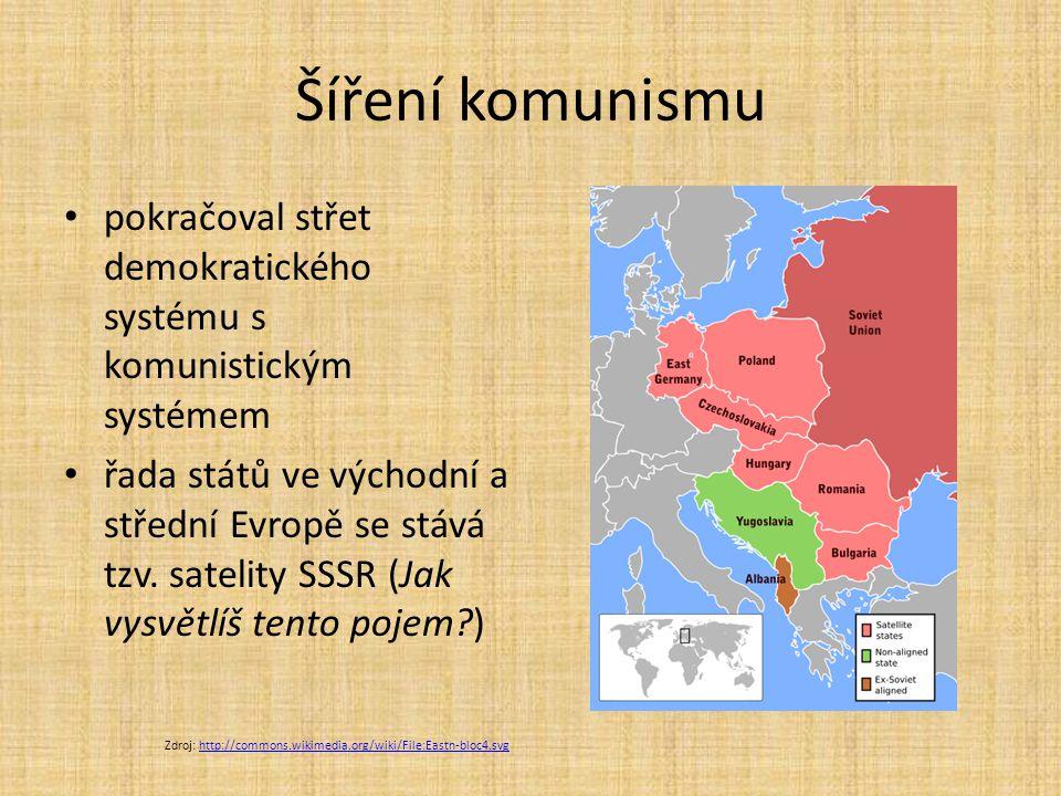 Šíření komunismu pokračoval střet demokratického systému s komunistickým systémem řada států ve východní a střední Evropě se stává tzv.