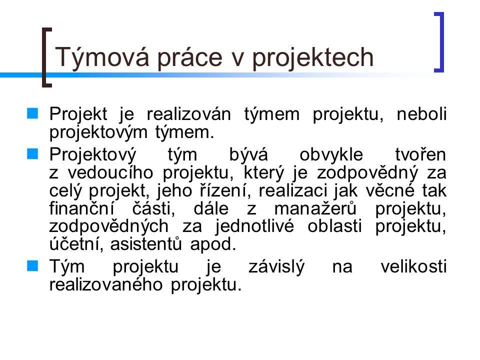 Týmová práce v projektech Projekt je realizován týmem projektu, neboli projektovým týmem.