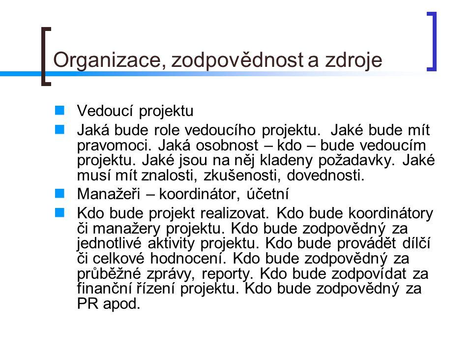Organizace, zodpovědnost a zdroje Vedoucí projektu Jaká bude role vedoucího projektu.