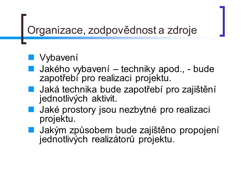 Organizace, zodpovědnost a zdroje Vybavení Jakého vybavení – techniky apod., - bude zapotřebí pro realizaci projektu.