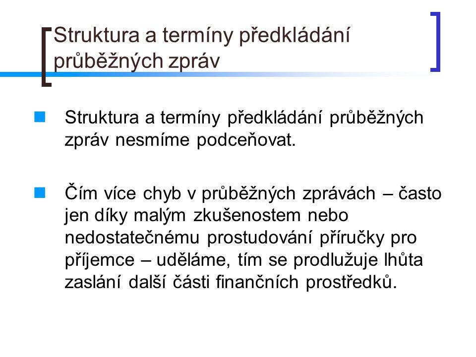 Struktura a termíny předkládání průběžných zpráv Struktura a termíny předkládání průběžných zpráv nesmíme podceňovat.