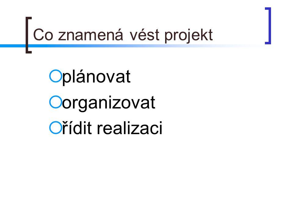 Co znamená vést projekt  plánovat  organizovat  řídit realizaci