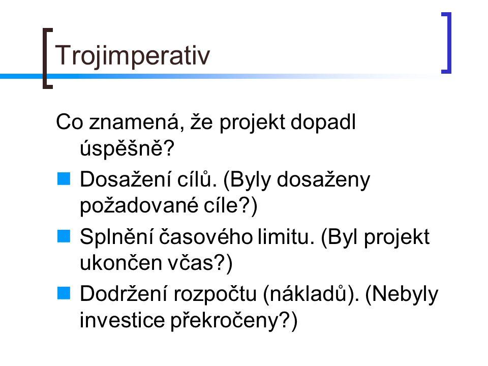 Trojimperativ Co znamená, že projekt dopadl úspěšně.