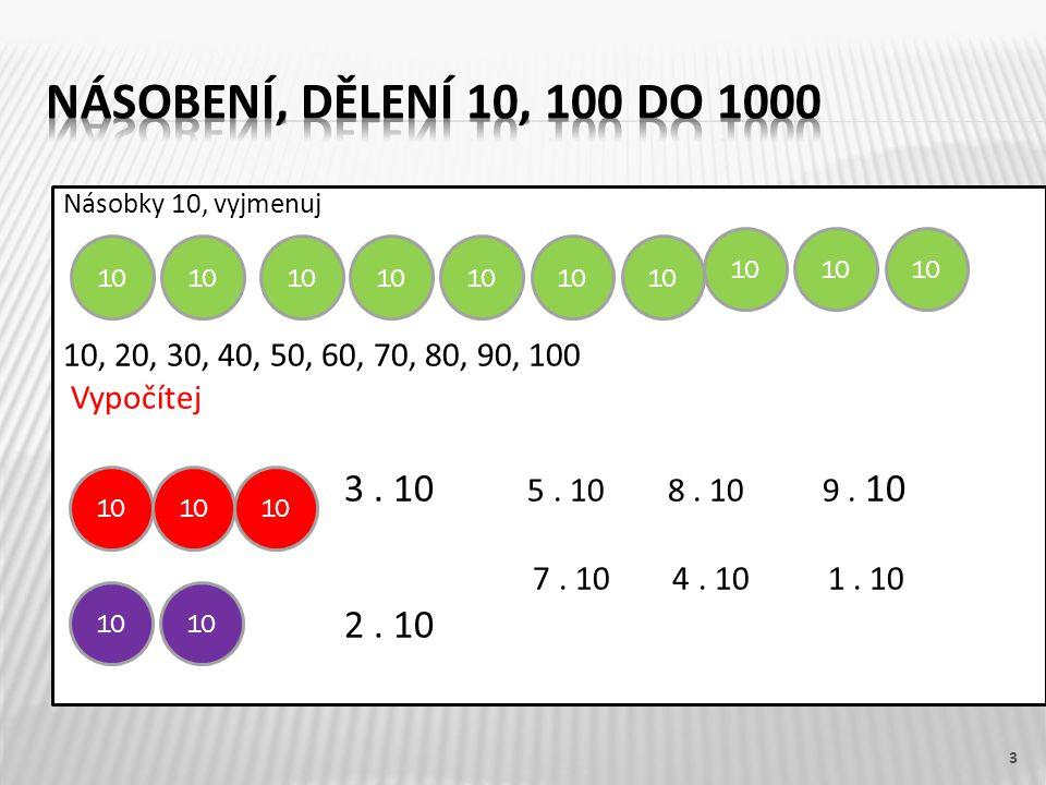 Násobky 10, vyjmenuj 10, 20, 30, 40, 50, 60, 70, 80, 90, 100 Vypočítej 3. 10 5. 10 8. 10 9. 10 7. 10 4. 10 1. 10 2. 10 3 10