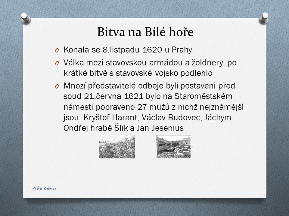 Bitva na Bílé hoře O Konala se 8.listpadu 1620 u Prahy O Válka mezi stavovskou armádou a žoldnery, po krátké bitvě s stavovské vojsko podlehlo O Mnozí