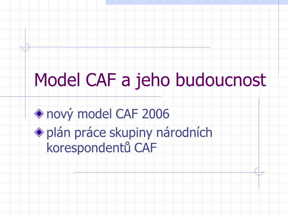Model CAF a jeho budoucnost nový model CAF 2006 plán práce skupiny národních korespondentů CAF