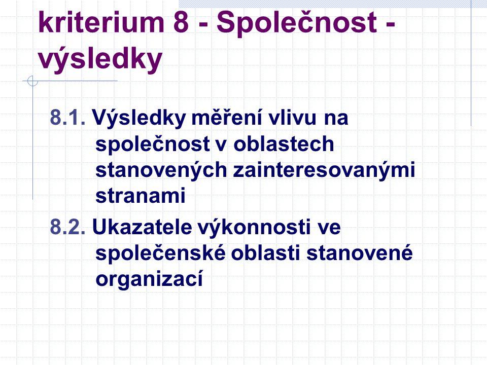 kriterium 8 - Společnost - výsledky 8.1.