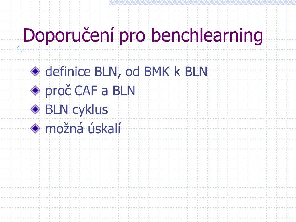 Doporučení pro benchlearning definice BLN, od BMK k BLN proč CAF a BLN BLN cyklus možná úskalí