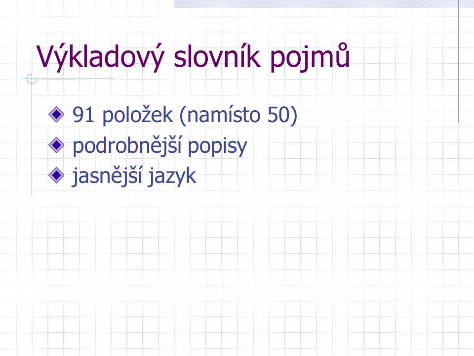 Výkladový slovník pojmů 91 položek (namísto 50) podrobnější popisy jasnější jazyk