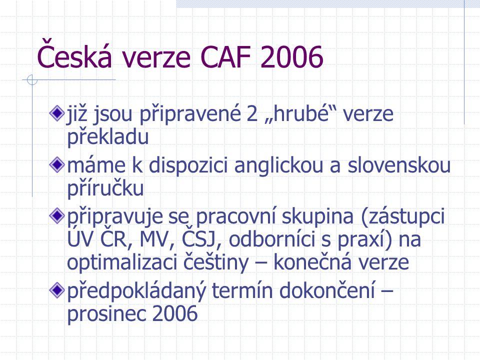 """Česká verze CAF 2006 již jsou připravené 2 """"hrubé verze překladu máme k dispozici anglickou a slovenskou příručku připravuje se pracovní skupina (zástupci ÚV ČR, MV, ČSJ, odborníci s praxí) na optimalizaci češtiny – konečná verze předpokládaný termín dokončení – prosinec 2006"""