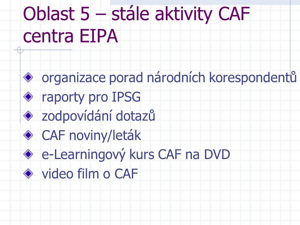 Oblast 5 – stále aktivity CAF centra EIPA organizace porad národních korespondentů raporty pro IPSG zodpovídání dotazů CAF noviny/leták e-Learningový kurs CAF na DVD video film o CAF