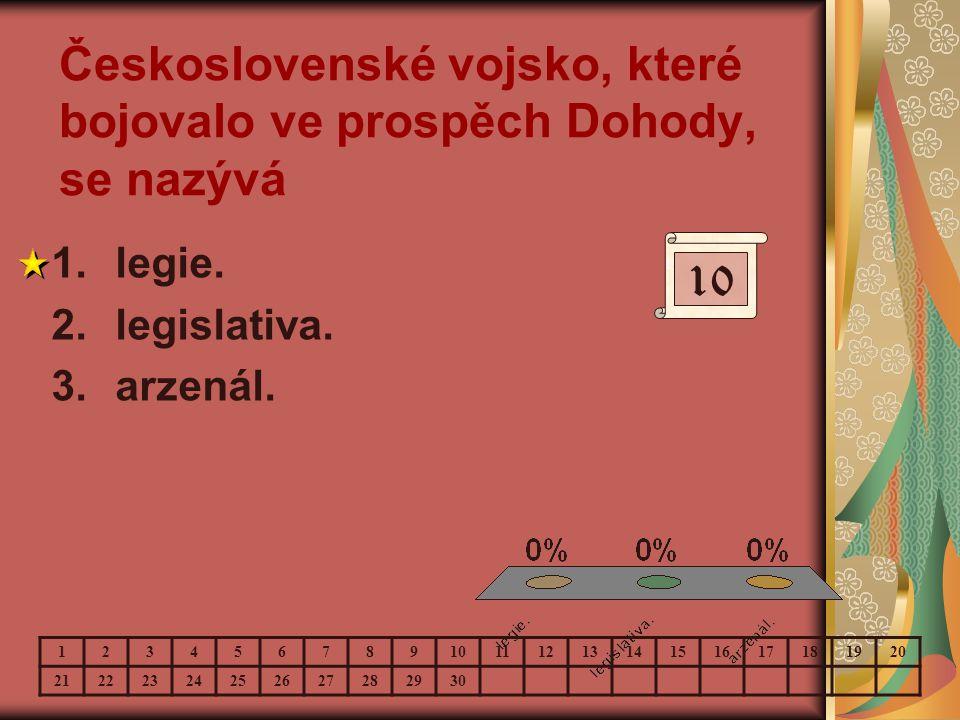 Československé vojsko, které bojovalo ve prospěch Dohody, se nazývá 1.legie. 2.legislativa. 3.arzenál. 10 123456789 11121314151617181920 2122232425262