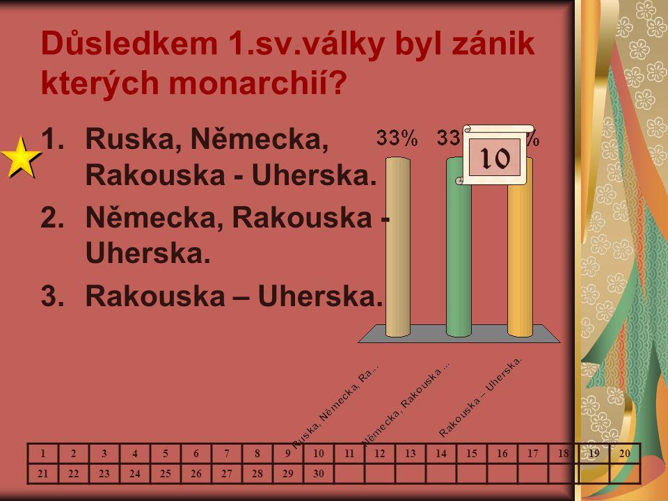 Důsledkem 1.sv.války byl zánik kterých monarchií? 10 123456789 11121314151617181920 21222324252627282930 1.Ruska, Německa, Rakouska - Uherska. 2.Němec