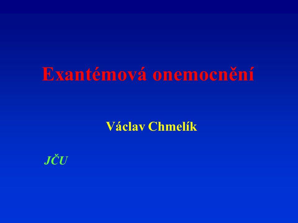 Definice Onemocnění spojená s výsevem exantému - vyrážky.