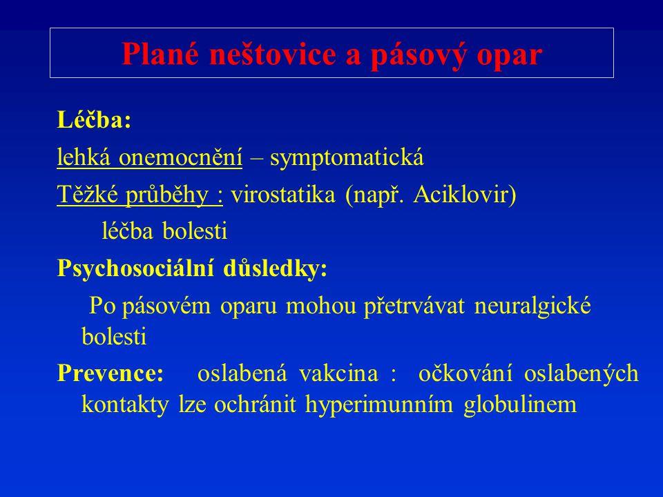 Plané neštovice a pásový opar Léčba: lehká onemocnění – symptomatická Těžké průběhy : virostatika (např. Aciklovir) léčba bolesti Psychosociální důsle