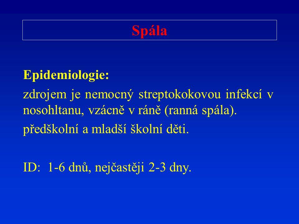 Spála Epidemiologie: zdrojem je nemocný streptokokovou infekcí v nosohltanu, vzácně v ráně (ranná spála). předškolní a mladší školní děti. ID: 1-6 dnů