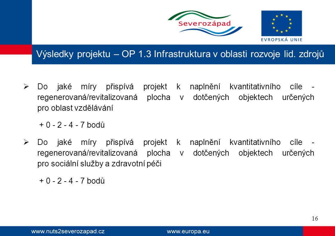  Do jaké míry přispívá projekt k naplnění kvantitativního cíle - regenerovaná/revitalizovaná plocha v dotčených objektech určených pro oblast vzdělávání + 0 - 2 - 4 - 7 bodů  Do jaké míry přispívá projekt k naplnění kvantitativního cíle - regenerovaná/revitalizovaná plocha v dotčených objektech určených pro sociální služby a zdravotní péči + 0 - 2 - 4 - 7 bodů Výsledky projektu – OP 1.3 Infrastruktura v oblasti rozvoje lid.