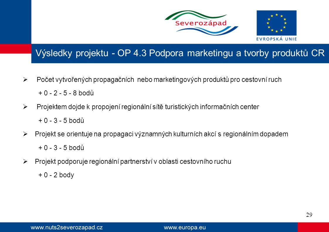  Počet vytvořených propagačních nebo marketingových produktů pro cestovní ruch + 0 - 2 - 5 - 8 bodů  Projektem dojde k propojení regionální sítě turistických informačních center + 0 - 3 - 5 bodů  Projekt se orientuje na propagaci významných kulturních akcí s regionálním dopadem + 0 - 3 - 5 bodů  Projekt podporuje regionální partnerství v oblasti cestovního ruchu + 0 - 2 body Výsledky projektu - OP 4.3 Podpora marketingu a tvorby produktů CR 29