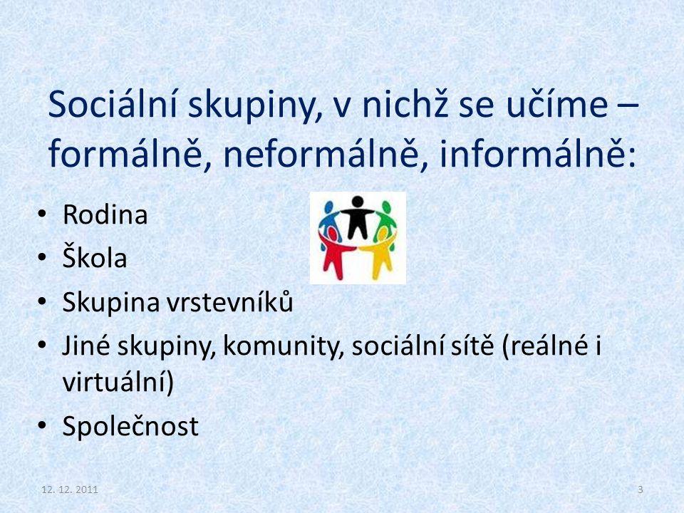 Sociální skupiny, v nichž se učíme – formálně, neformálně, informálně: Rodina Škola Skupina vrstevníků Jiné skupiny, komunity, sociální sítě (reálné i