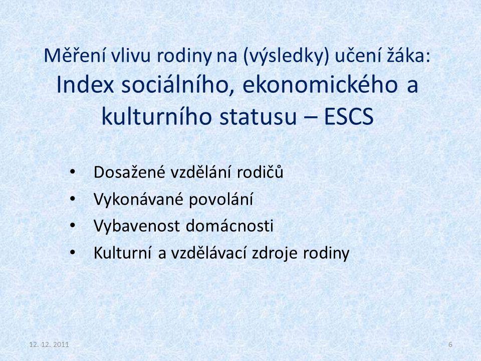 Měření vlivu rodiny na (výsledky) učení žáka: Index sociálního, ekonomického a kulturního statusu – ESCS Dosažené vzdělání rodičů Vykonávané povolání Vybavenost domácnosti Kulturní a vzdělávací zdroje rodiny 612.