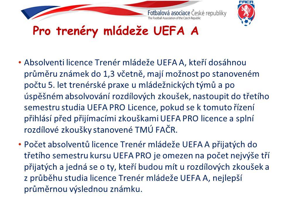 Pro trenéry mládeže UEFA A Absolventi licence Trenér mládeže UEFA A, kteří dosáhnou průměru známek do 1,3 včetně, mají možnost po stanoveném počtu 5.