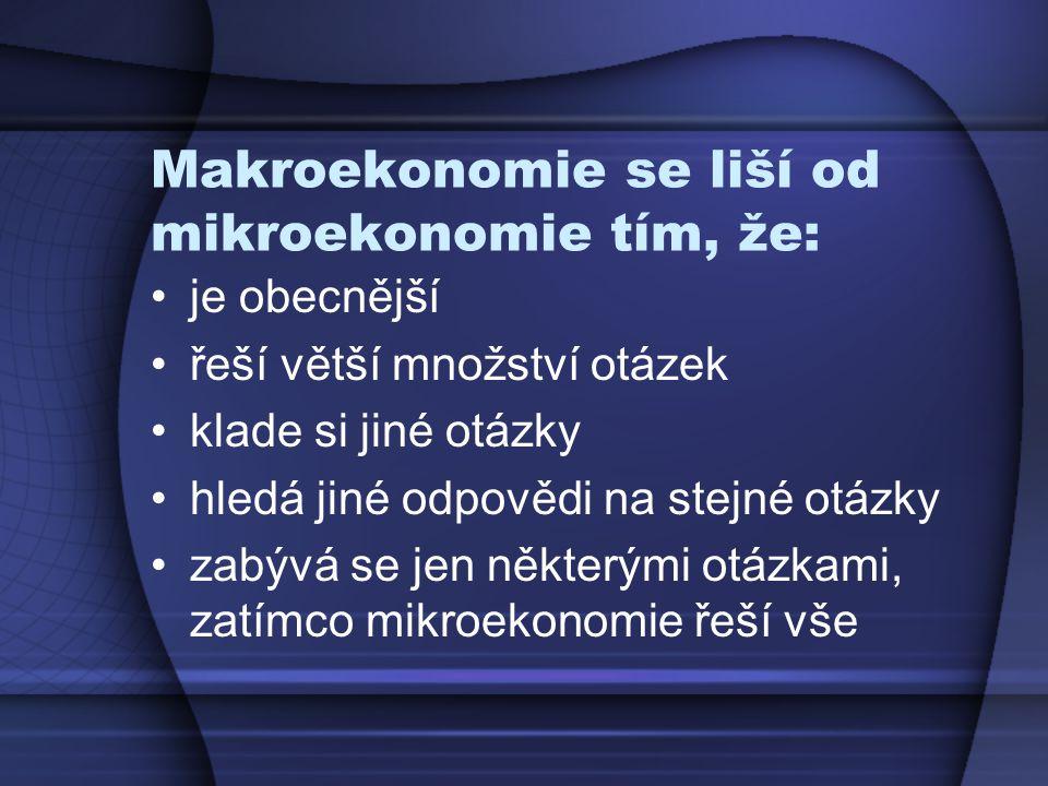 Makroekonomie se liší od mikroekonomie tím, že: je obecnější řeší větší množství otázek klade si jiné otázky hledá jiné odpovědi na stejné otázky zabý