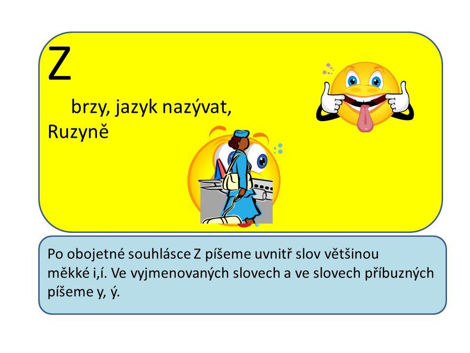 Z brzy, jazyk nazývat, Ruzyně Po obojetné souhlásce Z píšeme uvnitř slov většinou měkké i,í.