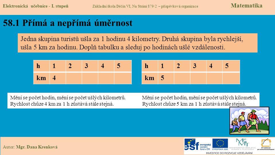 58.1 Přímá a nepřímá úměrnost Elektronická učebnice - I.