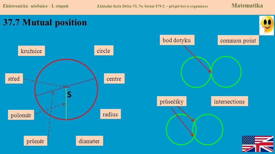 37.7 Mutual position Elektronická učebnice - I. stupeň Základní škola Děčín VI, Na Stráni 879/2 – příspěvková organizace Matematika kružnice poloměr p