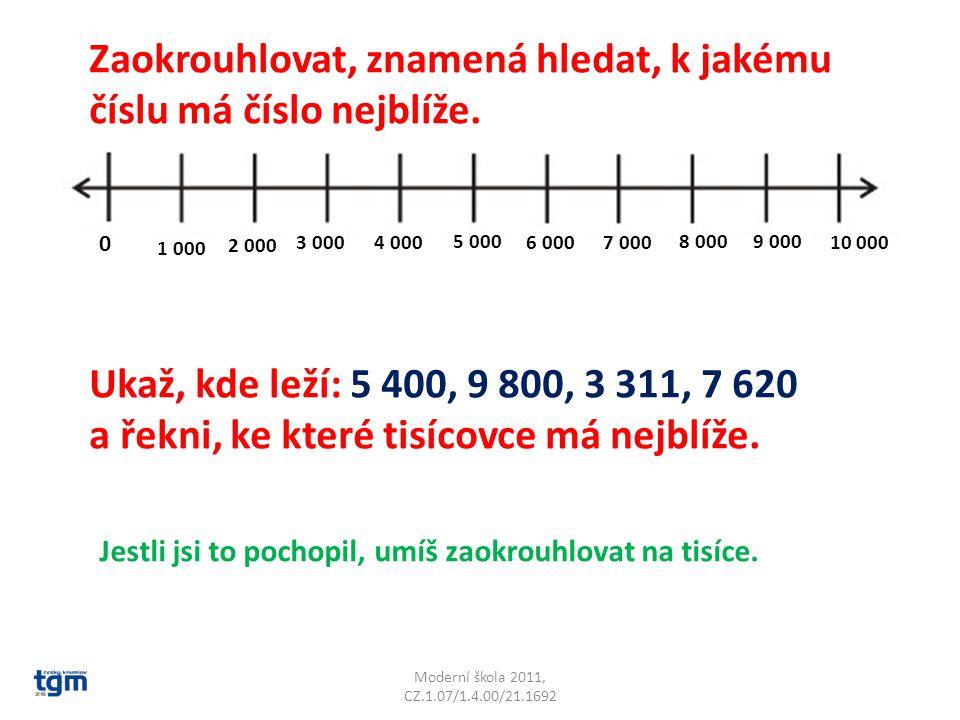 Moderní škola 2011, CZ.1.07/1.4.00/21.1692 0 1 000 2 000 3 0004 000 5 000 6 0007 000 8 0009 000 10 000 Zaokrouhlovat, znamená hledat, k jakému číslu m