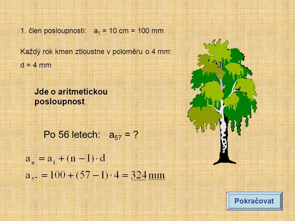 1. člen posloupnosti: a 1 = 10 cm = 100 mm Každý rok kmen ztloustne v poloměru o 4 mm: d = 4 mm Po 56 letech: a 57 = ? Jde o aritmetickou posloupnost