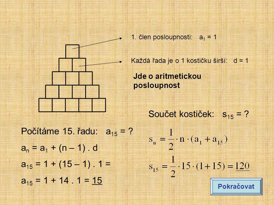 1.člen posloupnosti: a 1 = 1 Každá řada je o 1 kostičku širší: d = 1 Počítáme 15.