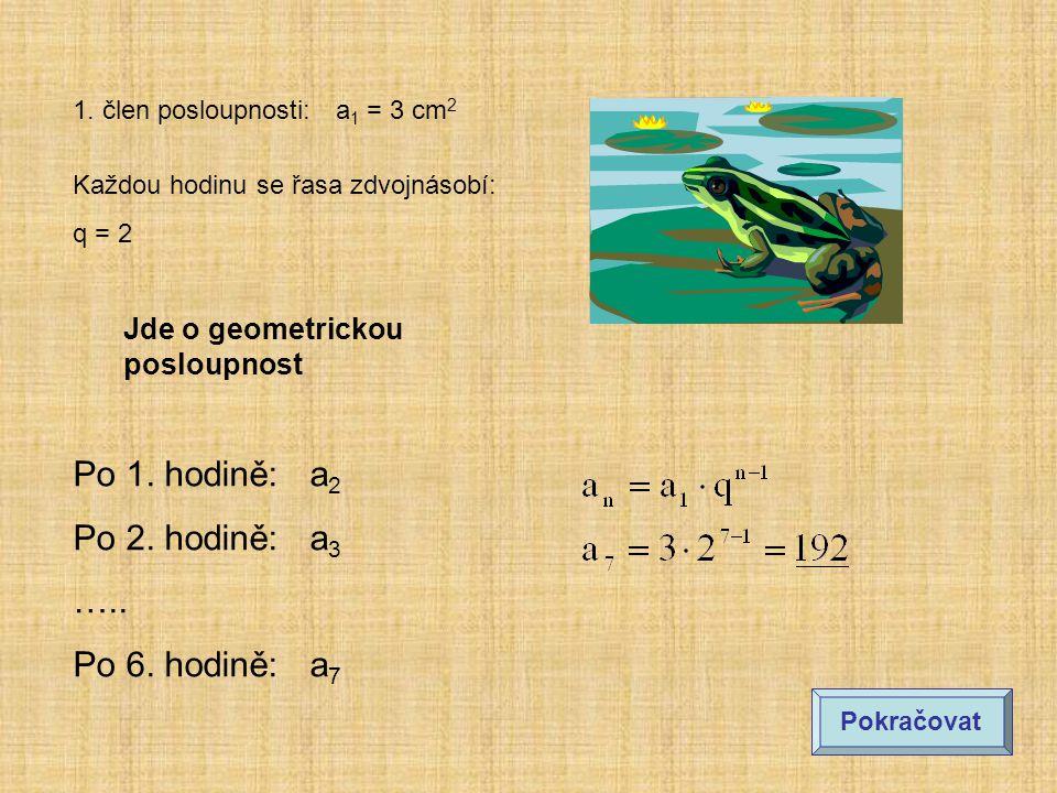 1.člen posloupnosti: a 1 = 3 cm 2 Každou hodinu se řasa zdvojnásobí: q = 2 Po 1.