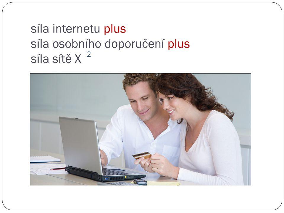 síla internetu plus síla osobního doporučení plus síla sítě X 2