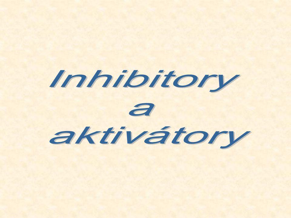 Inhibitory Látky snižující rychlost enzymově katalyzované reakce Látky nejrůznější povahy – ionty, organické i anorganické látky Nízkomolekulární i vysokomolekulární látky Vyvolávají buď změnu struktury molekuly enzymu, nebo konkurují substrátu