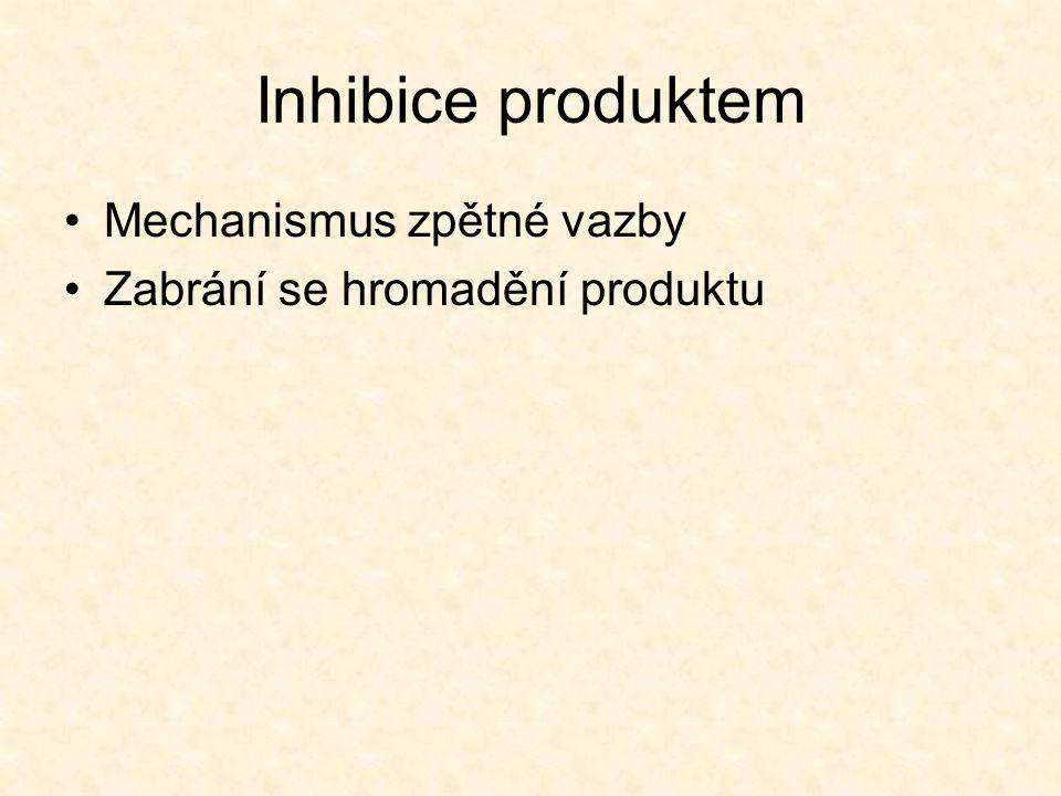 Inhibice produktem Mechanismus zpětné vazby Zabrání se hromadění produktu