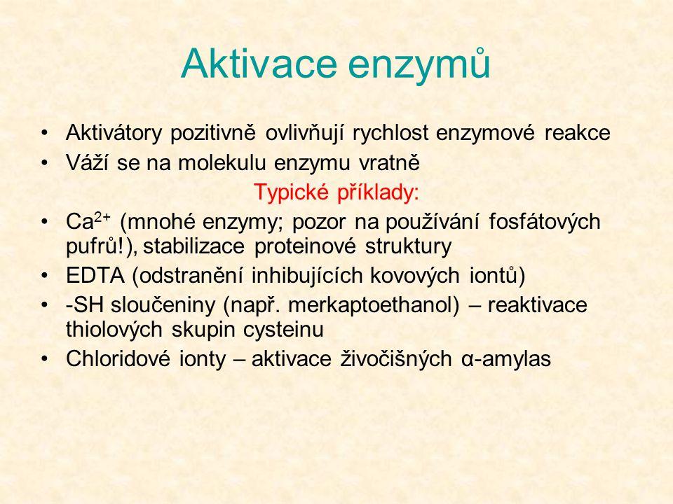 Aktivace enzymů Aktivátory pozitivně ovlivňují rychlost enzymové reakce Váží se na molekulu enzymu vratně Typické příklady: Ca 2+ (mnohé enzymy; pozor