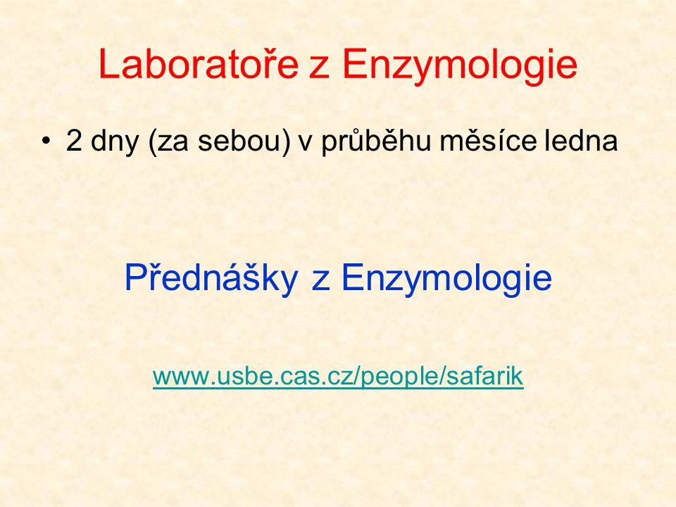 Laboratoře z Enzymologie 2 dny (za sebou) v průběhu měsíce ledna Přednášky z Enzymologie www.usbe.cas.cz/people/safarik