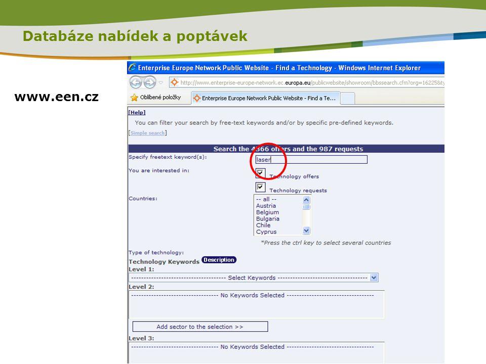 Databáze nabídek a poptávek www.een.cz